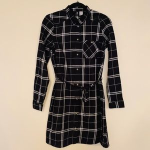 Divided Plaid Belted Dress Sz 6